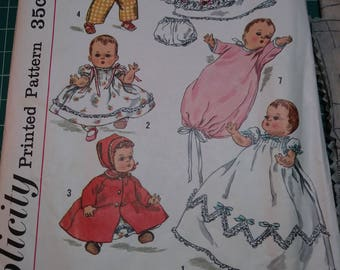 Vintage Simplicity Pattern 1844 Dolls Clothes for 20 inch