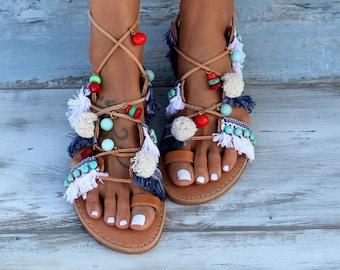 "Tie Up Gladiator Sandals, Greek Sandals, Pom Pom Sandals, Boho Sandals, ""Danae"""