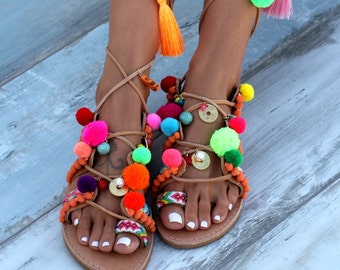 "Handmade to order decorated sandals ""Chili Mango"", Lace up Sandals, Leather Sandals, Boho Shoes, Pom pom Sandals, Gladiator Sandal"