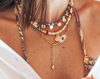 Beach Necklace Waterproof Circle Necklace Boho Necklace Minimal Necklace Beach Boho Necklace- Circle Pendant Beach Jewelry,