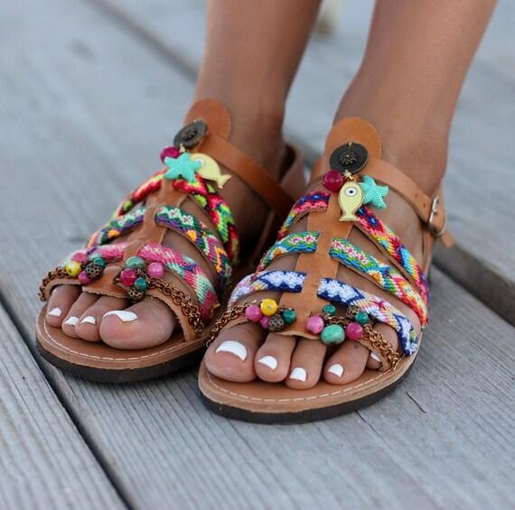 Gladiator SandalsGreek Pisaster Boho Leather Handmade Women's Order To CBedxro