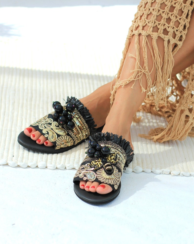 fd4eeef5f Boho leather sandals Greek sandals for women Decorated
