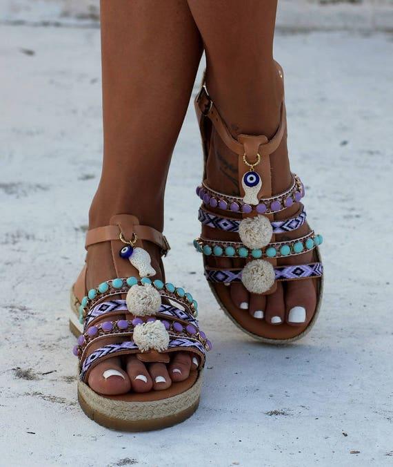 Sandals Decorated SandalsGreek Leather Isla Handmade GladiatorsStrappy Platform ShoesWomen XOZTPiku