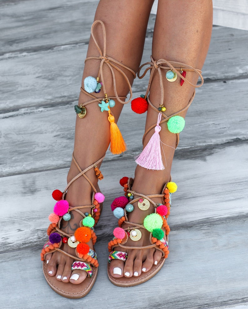 Handmade to order decorated sandals Chili Mango image 0