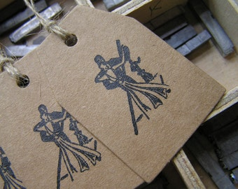 Letterpress gift tags ballroom dancing Kraft card retro Strictly - pack of 4