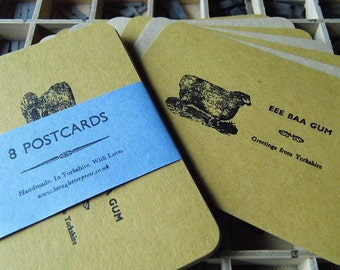 Letterpress postcards 'Eee Baa Gum Greetings from Yorkshire' dialect sheep - pack of 8