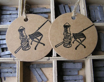 Letterpress gift tags fishing angling on Kraft card - pack of 2 large