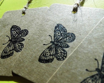 Letterpress butterfly gift tags on Kraft card - pack of 4