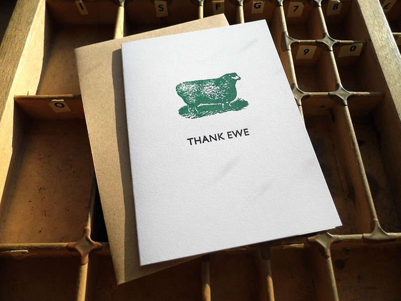 Thank ewe sheep Letterpress thank you card