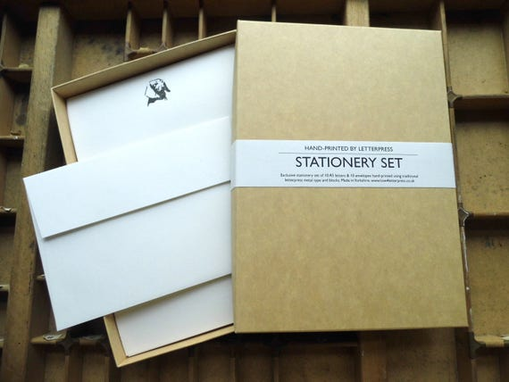 Letterpress boxed stationery set teal blue butterfly Conqueror paper