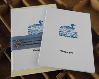 Letterpress thank you notecards blue ducks pack of 5 thankyou cards