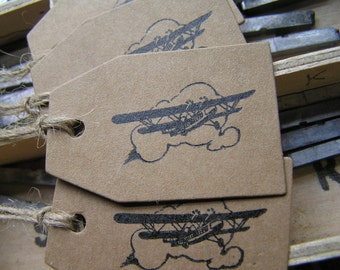 Letterpress aeroplane gift tags Kraft card retro biplane - pack of 4