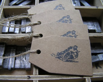 Letterpress gift tags speedway motorcycle racing on Kraft card - 4 pack