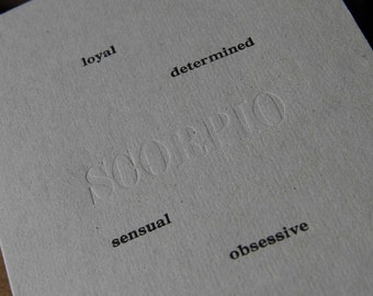 Letterpress Birthday card Zodiac sign SCORPIO horoscope. Exclusive limited edition of 5 recycled
