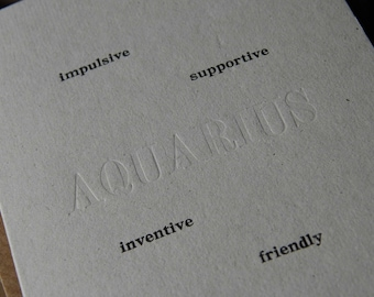 Letterpress Birthday card Zodiac sign AQUARIUS horoscope. Exclusive limited edition of 5 recycled