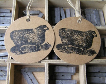 Letterpress gift tags sheep on Kraft card - pack of 2 large round