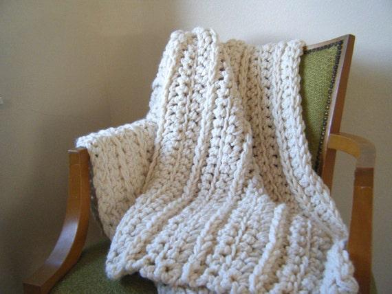 Diy Crochet Pattern Super Chunky Throw Ivory Cream Etsy