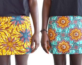 African print skirt, reversible skirt with 2 African ankara fabric, all saisons and idéal for beach, like a surf skirt