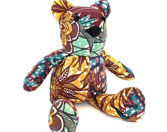 Patchwork bear, cotton plush toys for child or Ankara cuddly toys, lovely African teddy bear for newborn gift