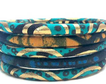 Ethnic bracelets, original Ankara bangles in a set of 5 stackable bracelets, handmade bracelets with turquoise African wax printing