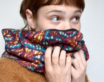African snood, Ankara scarf with fleece, soft and warm tubular infinity scarf, African ethnic scarf printed