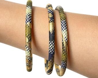 African bracelets, stackable rushes in golden ankara print, khaki/black/ecru/gold African wax fabric, 2 tailles de bracelets