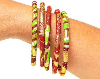 Ankara bangles, size XL or M, a nice ethnic multi-rank African jewelry in a set of 5 matching bracelets, red/gold/aniseed color