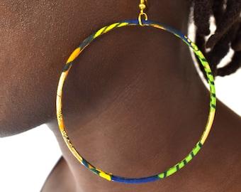 African creoles or large hoop earrings with golden ankara fabrics navy/orange/green