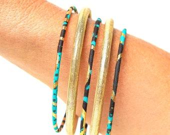 Thin wax bracelet, fine African loincloth rushes, ethnic chic bohemian jewel, Ankara fabric turquoise/gold