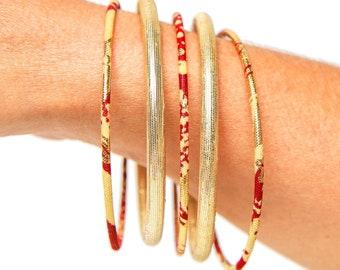Thin wax bracelet or African print jewel, ethnic chic bohemian jewel in Ankara fabric golden/red