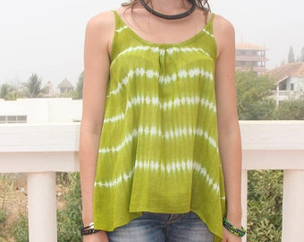 Women's tie and dye top in cotton and green striped shibori print, an African ethnic top in tie dye style for summer