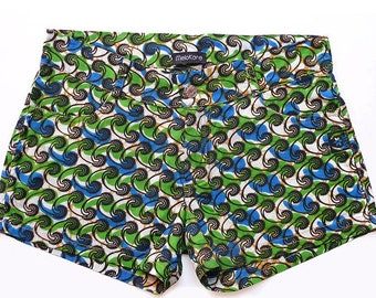 Women's jeans shorts in African Ankara print, surf shorts or beach shorts or city cut jeans for summer, ethnic print Ankara green/blue