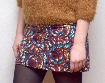 African print skirt with two African wax fabric, a reversible skirt or sexy winter mini skirt in Ankara print