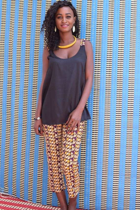 Black tunic with wax straps Ankara shoulder with african detail and backless women/'s ethnic tank top in black cotton African