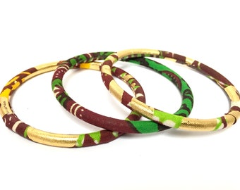 African bracelets in set of 3 stacking bangles with golden Ankara fabric or wax print green/gold