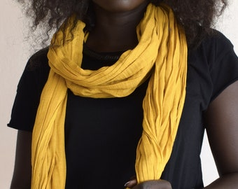 African scarf, a ethnic cotton scarf for men or women, Mauritanien style scarf or cheich in mustard artisanal dyeing