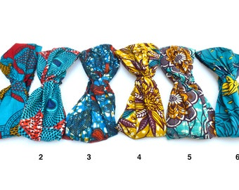 Twisted headband in wax cotton for hair, Headband or turban for African Ankara print hairstyle, different shades of blue