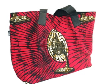 Ankara print bag XL, ethnic bag with handles and bottom bag in recycled leather, red color