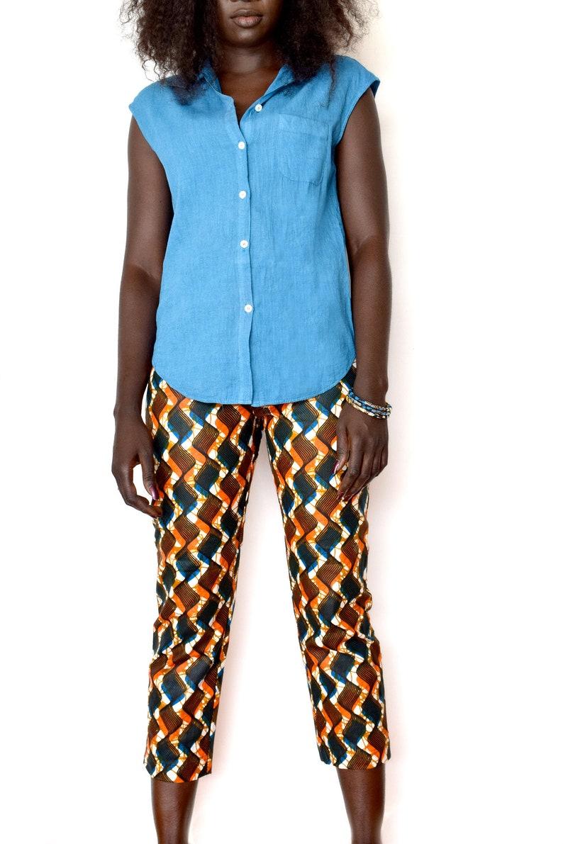 Coupe Ankara L'étéStyle Coton AfricainUn Pour Wax Femme En Court Droite Ethnique Pantalon Pantacourts WD29HIE