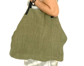 Large tote bag made of natural clay and plant dye khaki green color, an ecological bag with recycled leather handles