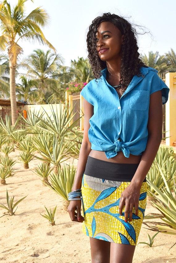 Coton Et En Manches BleuForme Liquette Artisanale Africain Chemisier Sans Femme Boutonnée Devant Teinture 6Yb7fgyv