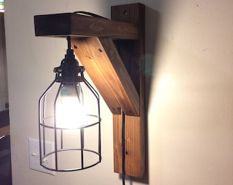 Rustic corbel light sconce, bedside light, rustic lamp, wall hanging light, rustic home decor, wooden light, farmhouse lamp, farmhouse decor