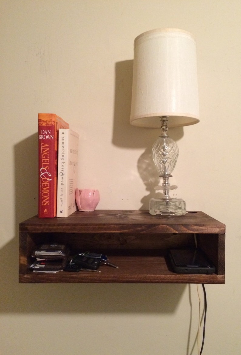 Floating Bedside Table Rustic Nightstand Barn Wood Style Etsy