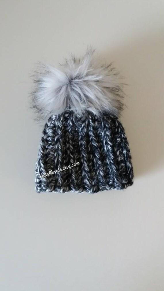 Faux Fur Pom Pom Hat Crochet Fur Pom Pom Hat Baby Faux Fur  5e4c7893c607