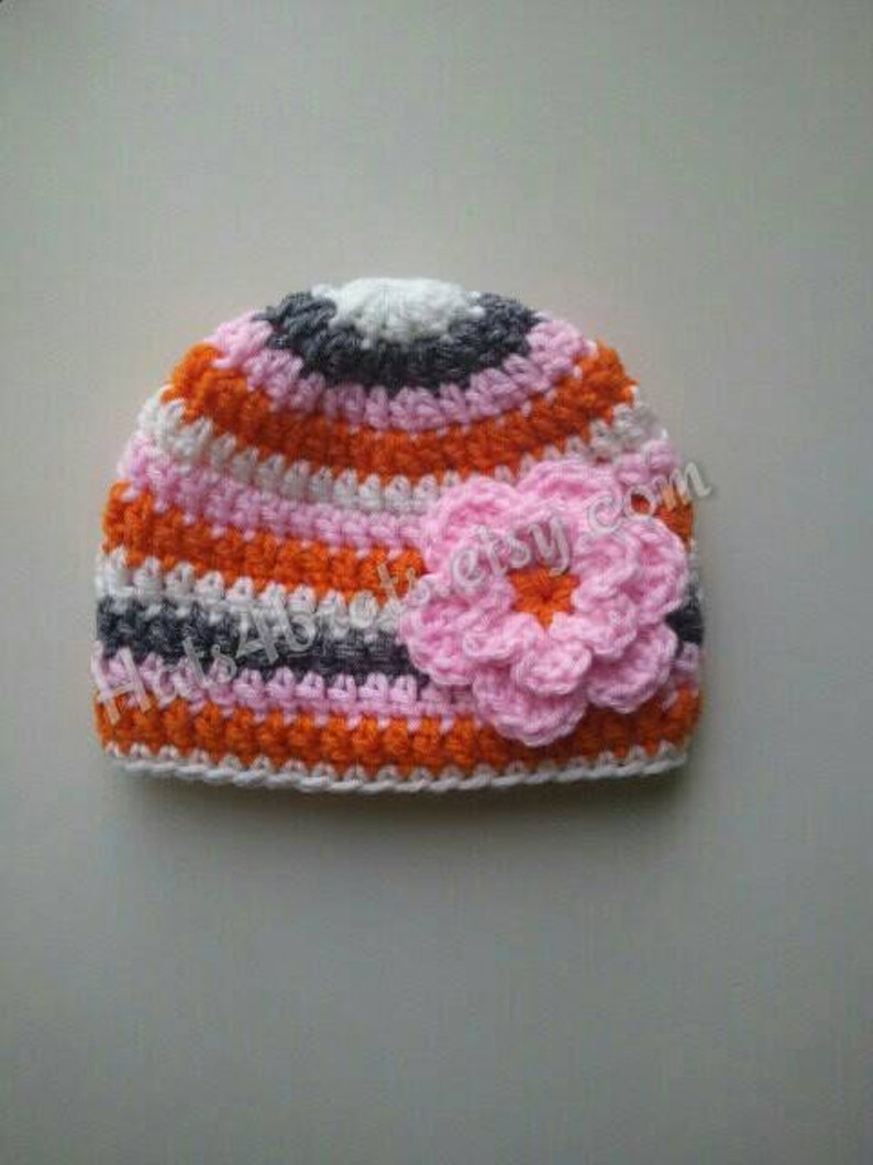 e69b8052680 Crochet Baby Hat Baby Girls Crochet Hat With Flower Baby