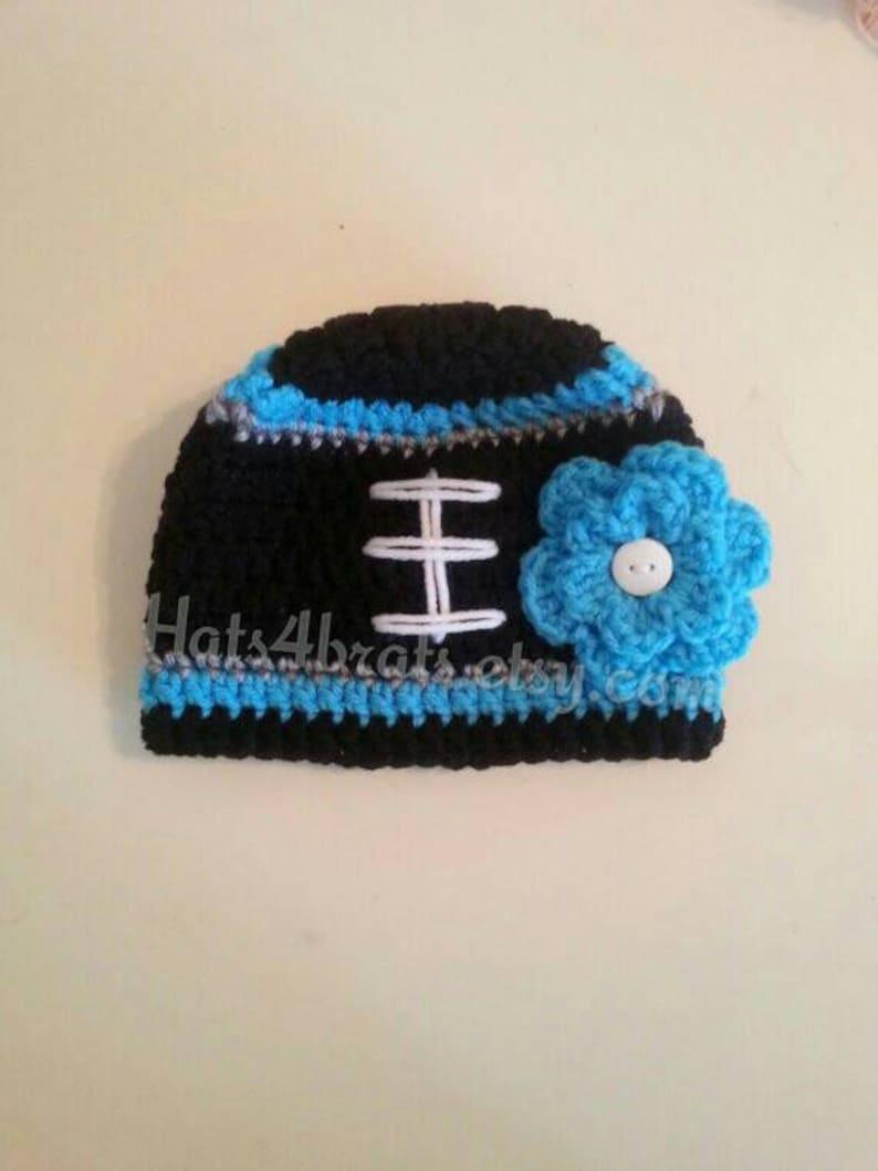 331f5537 Baby Girl Carolina Panthers Hat, Newborn Panthers Hat, Panthers Photo Prop,  Baby Football Hat, Infant Crochet Hat,Crochet North Carolina,NFL
