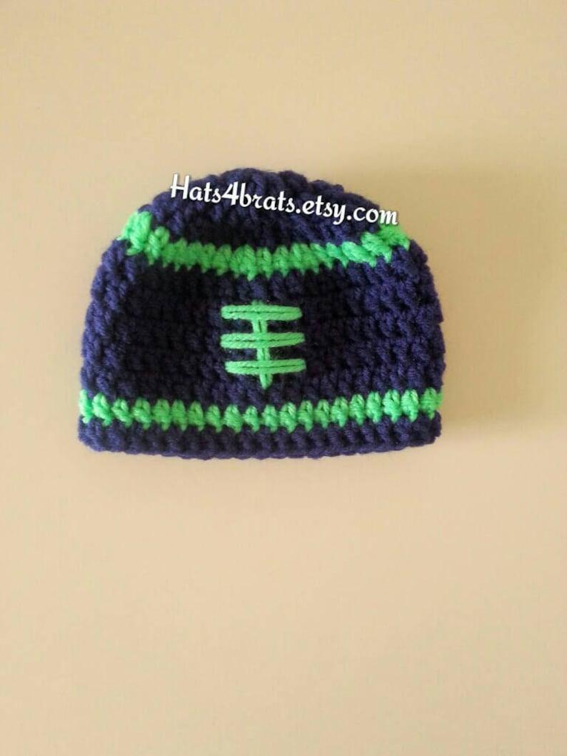 Seattle Seahawks Hat Crochet Football Hat Baby Football Hat Etsy