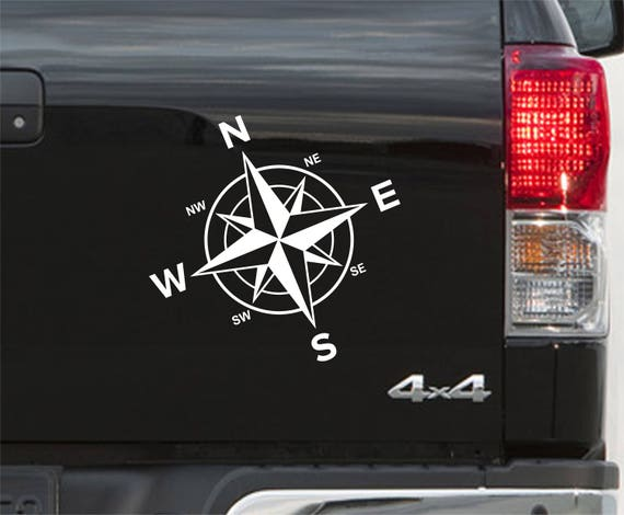 Huge Nautical Compass Van Vinyl Sticker Decal x 2