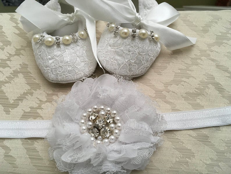 fbd354dd59360 White baby girl crib shoes and headband set Christening | Etsy