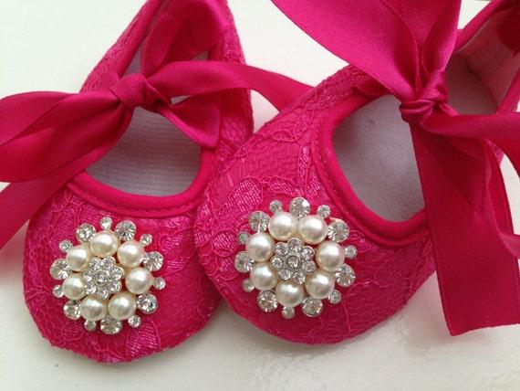 Chaud chaussures de dentelle rose bébé, nouveau-né roses chaussures, souliers de strass, chaussures ballerine, chaussures princesses